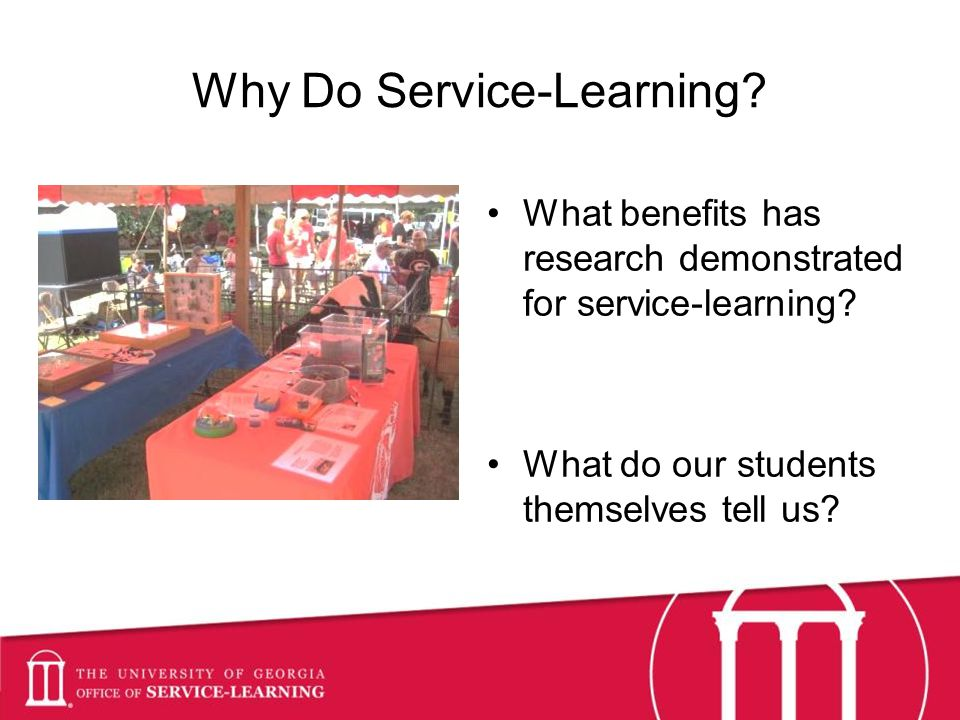 Why Do Service-Learning. What benefits has research demonstrated for service-learning.