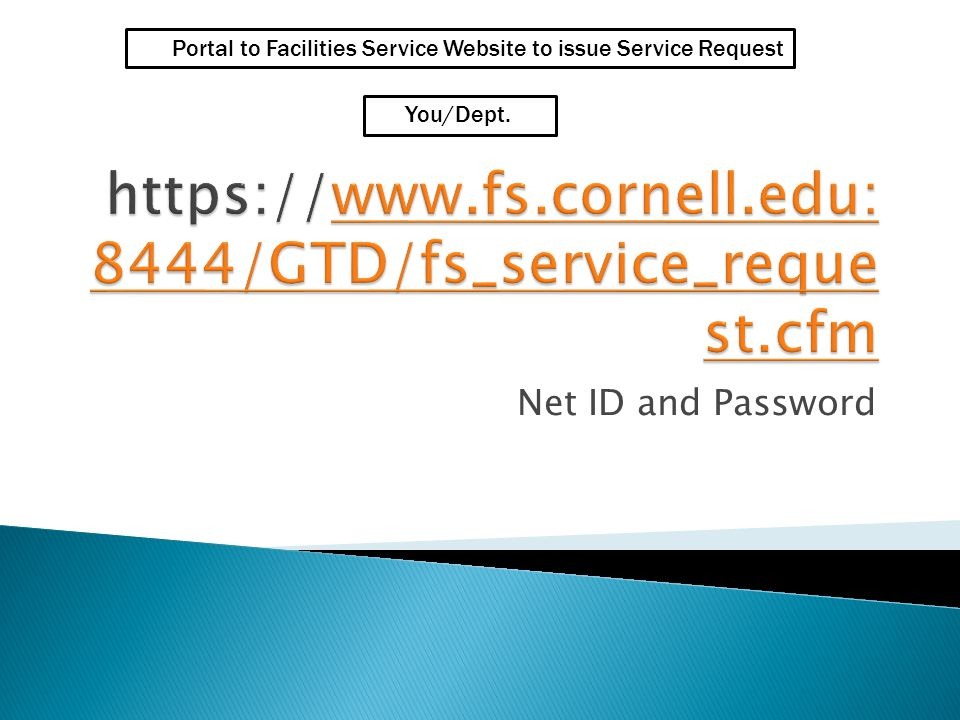 Net ID and Password Portal to Facilities Service Website to issue Service Request You/Dept.