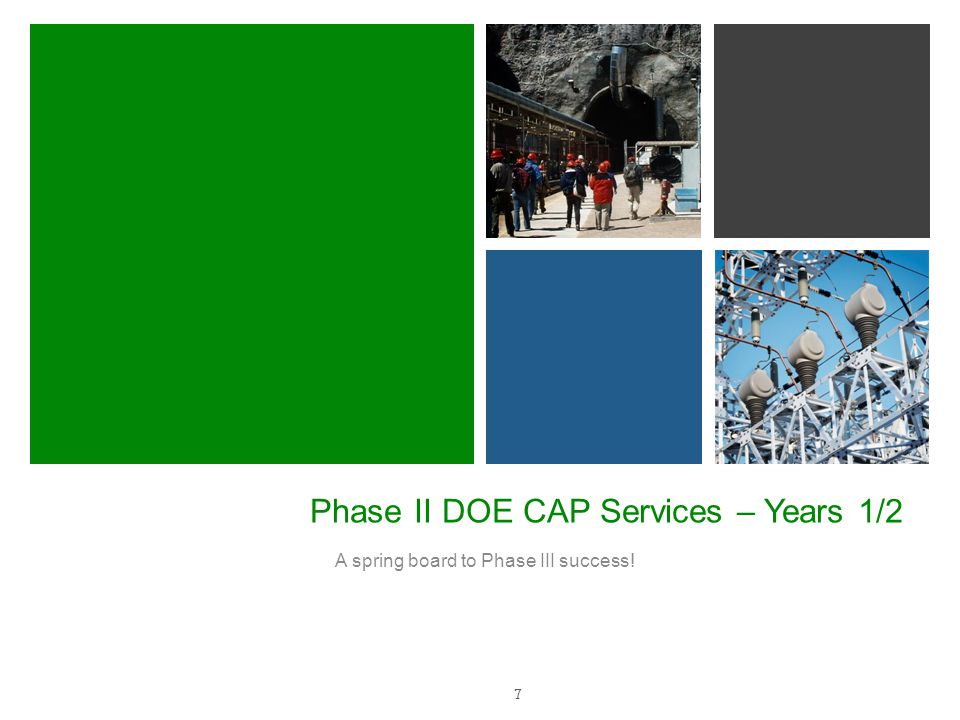 Phase II DOE CAP Services – Years 1/2 A spring board to Phase III success! 7