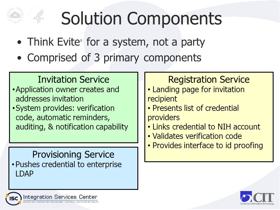 Solution Components Think Evite ® for a system, not a party Comprised of 3 primary components Invitation Service Application owner creates and addresses invitation System provides: verification code, automatic reminders, auditing, & notification capability Registration Service Landing page for invitation recipient Presents list of credential providers Links credential to NIH account Validates verification code Provides interface to id proofing Provisioning Service Pushes credential to enterprise LDAP