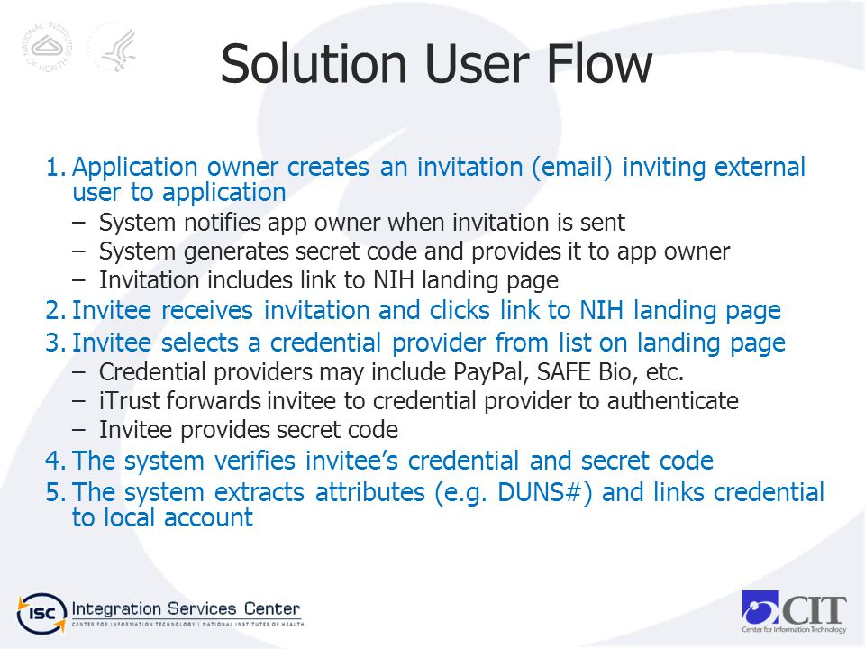 Solution User Flow 1.Application owner creates an invitation (email) inviting external user to application –System notifies app owner when invitation is sent –System generates secret code and provides it to app owner –Invitation includes link to NIH landing page 2.Invitee receives invitation and clicks link to NIH landing page 3.Invitee selects a credential provider from list on landing page –Credential providers may include PayPal, SAFE Bio, etc.