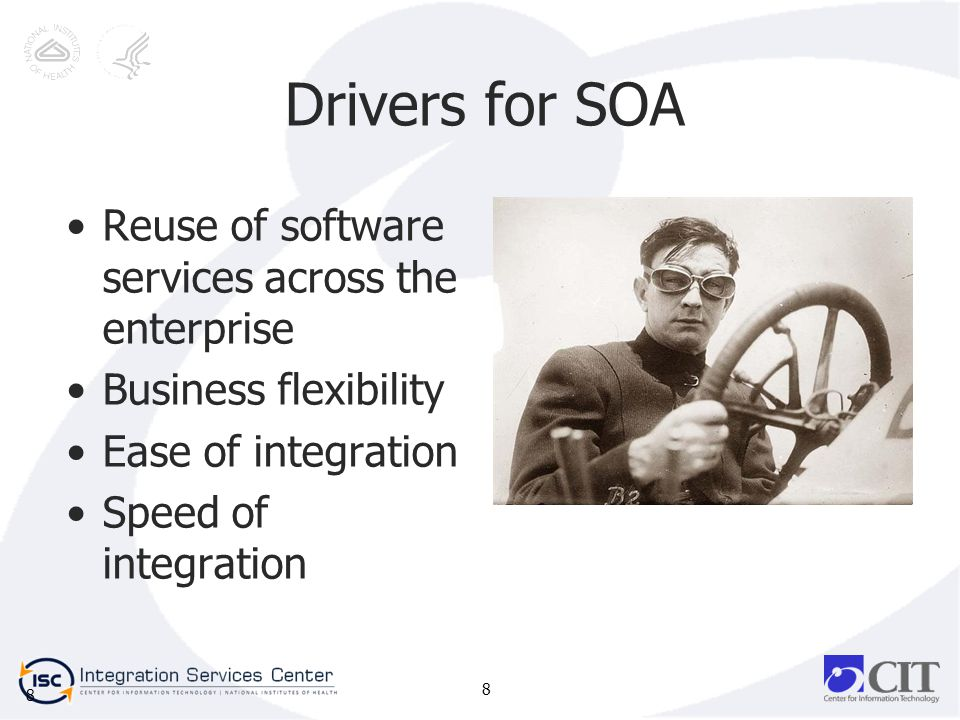 8 Drivers for SOA Reuse of software services across the enterprise Business flexibility Ease of integration Speed of integration 8