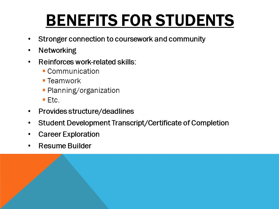 BENEFITS FOR STUDENTS Stronger connection to coursework and community Networking Reinforces work-related skills: Communication Teamwork Planning/organization Etc.