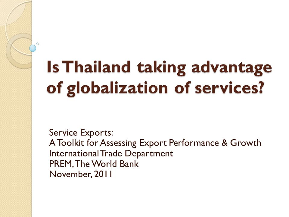 Is Thailand taking advantage of globalization of services.