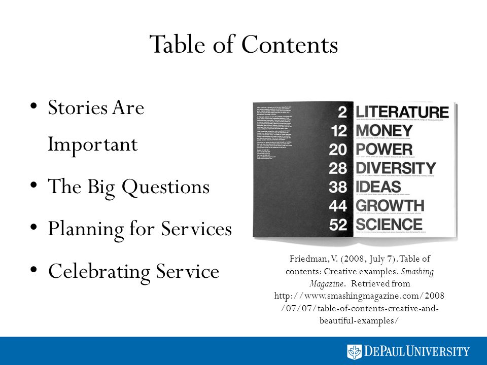 Table of Contents Stories Are Important The Big Questions Planning for Services Celebrating Service Friedman, V.