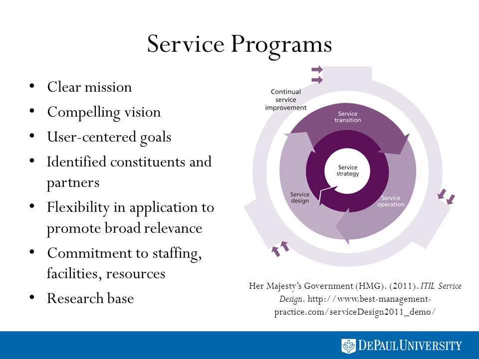 Service Programs Clear mission Compelling vision User-centered goals Identified constituents and partners Flexibility in application to promote broad relevance Commitment to staffing, facilities, resources Research base Her Majestys Government (HMG).