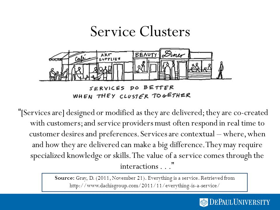 Service Clusters [Services are] designed or modified as they are delivered; they are co-created with customers; and service providers must often respond in real time to customer desires and preferences.