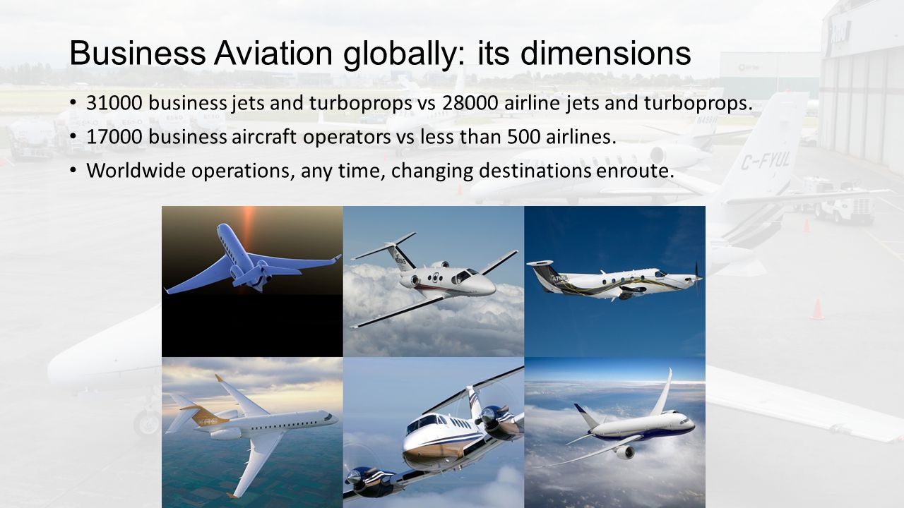 Business Aviation globally: its dimensions 31000 business jets and turboprops vs 28000 airline jets and turboprops.