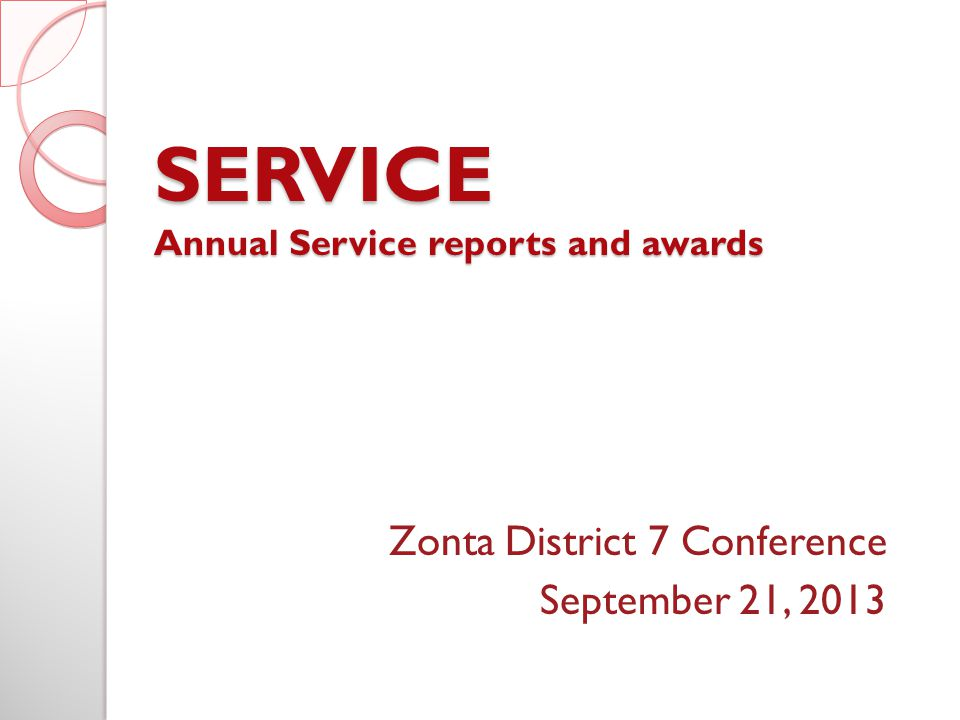 SERVICE Annual Service reports and awards Zonta District 7 Conference September 21, 2013