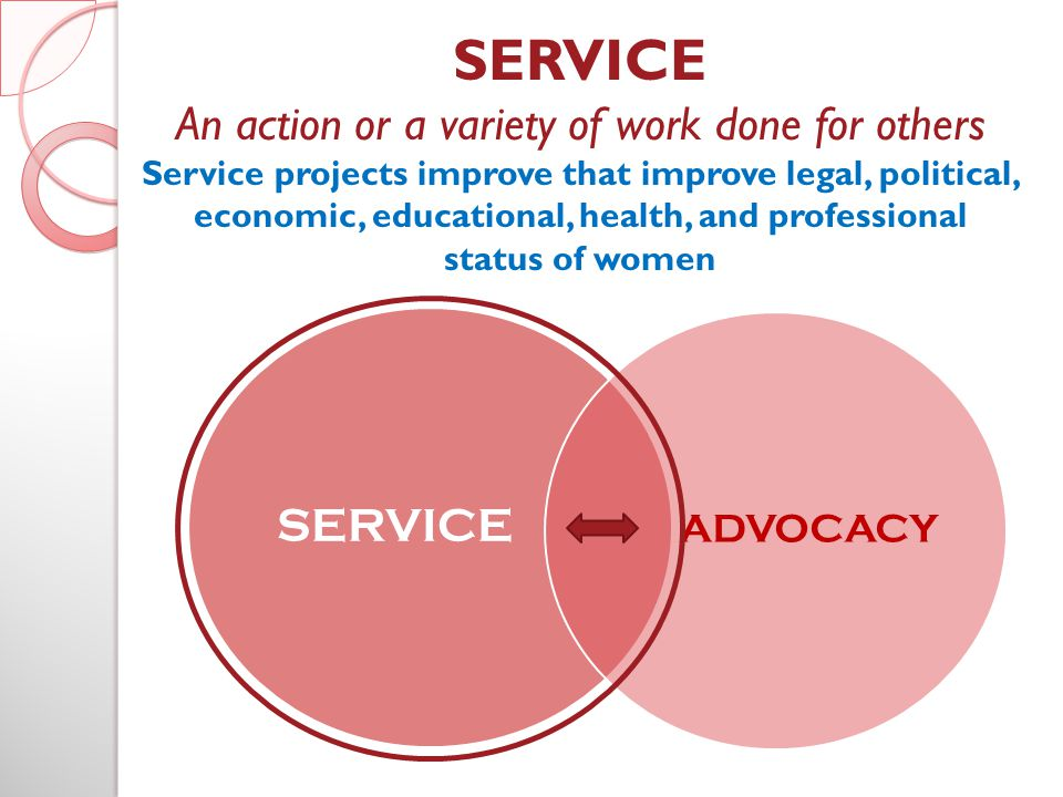 SERVICE An action or a variety of work done for others Service projects improve that improve legal, political, economic, educational, health, and professional status of women