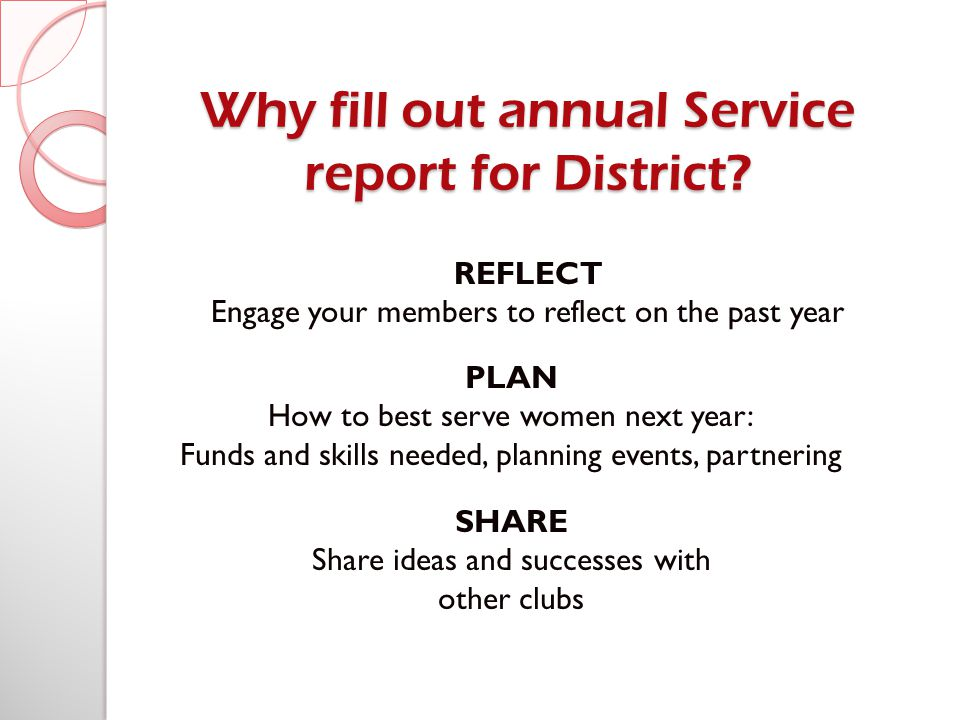Why fill out annual Service report for District.