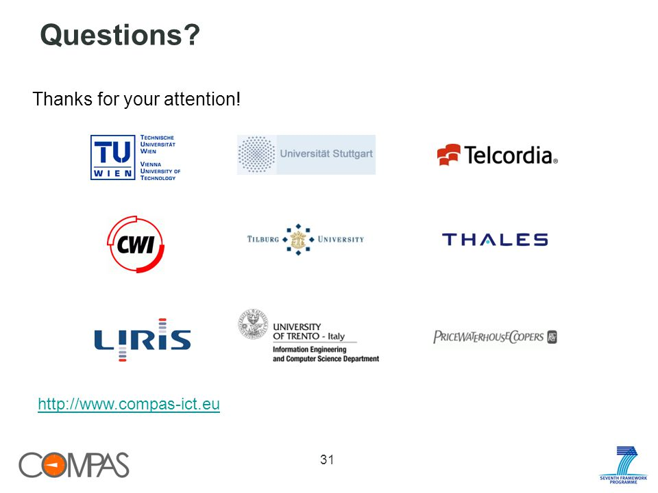 Questions 31 Thanks for your attention! http://www.compas-ict.eu