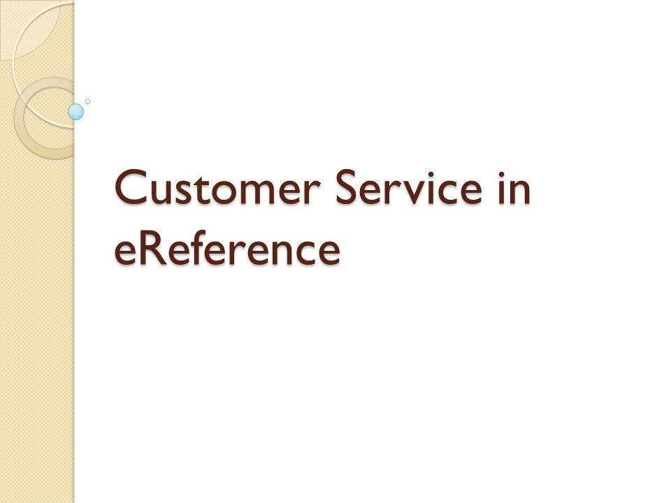 Customer Service in eReference
