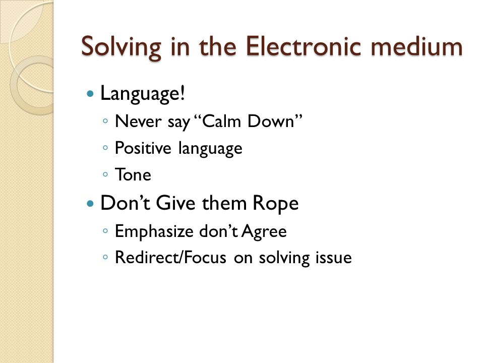 Solving in the Electronic medium Language.