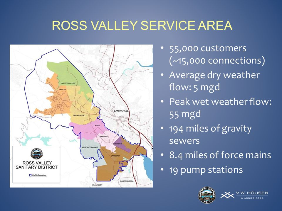 ROSS VALLEY SERVICE AREA 55,000 customers (~15,000 connections) Average dry weather flow: 5 mgd Peak wet weather flow: 55 mgd 194 miles of gravity sewers 8.4 miles of force mains 19 pump stations