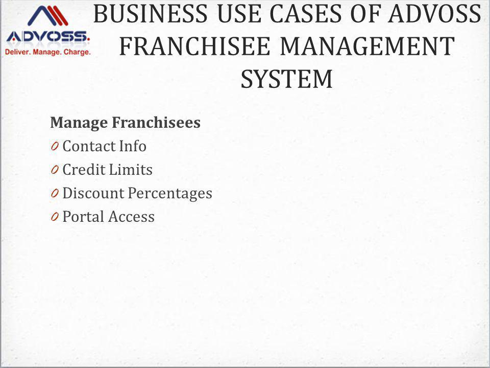 BUSINESS USE CASES OF ADVOSS FRANCHISEE MANAGEMENT SYSTEM Manage Franchisees 0 Contact Info 0 Credit Limits 0 Discount Percentages 0 Portal Access