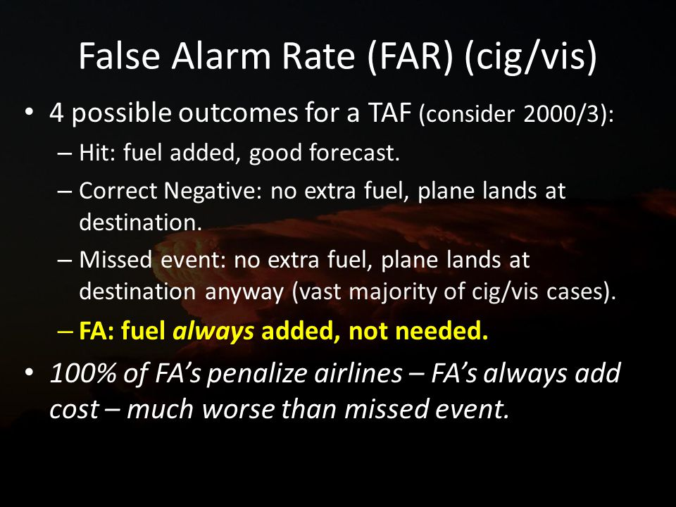 False Alarm Rate (FAR) (cig/vis) 4 possible outcomes for a TAF (consider 2000/3): – Hit: fuel added, good forecast.