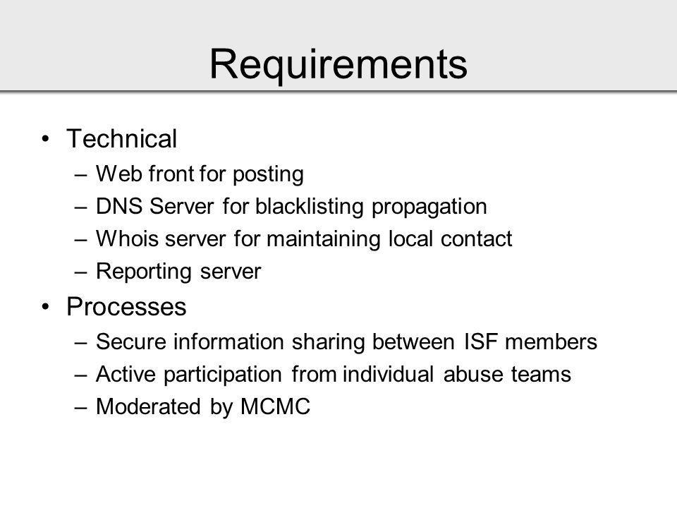 Requirements Technical –Web front for posting –DNS Server for blacklisting propagation –Whois server for maintaining local contact –Reporting server Processes –Secure information sharing between ISF members –Active participation from individual abuse teams –Moderated by MCMC