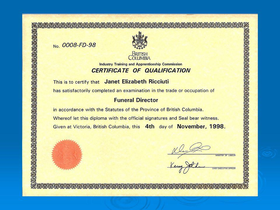 The FSABC Is The Designated Training Provider THE SCHOOL Funeral Service Association of British Columbia THE CREDENTIAL THE FUNDERS Industry Training Authority Responsible for managing BCs industry training systems Sets Training Standards THE INSTRUCTORS Canadian College of Funeral Services Contractual Agreement With The FSABC to provide instruction.