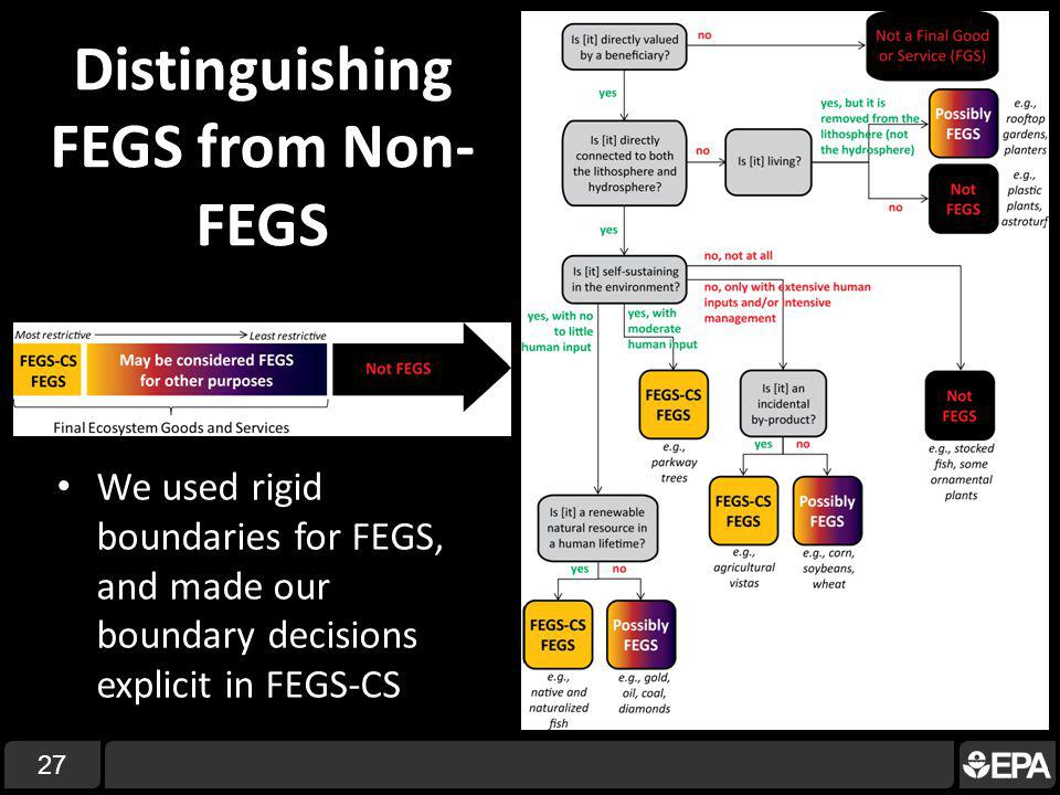 27 Distinguishing FEGS from Non- FEGS We used rigid boundaries for FEGS, and made our boundary decisions explicit in FEGS-CS