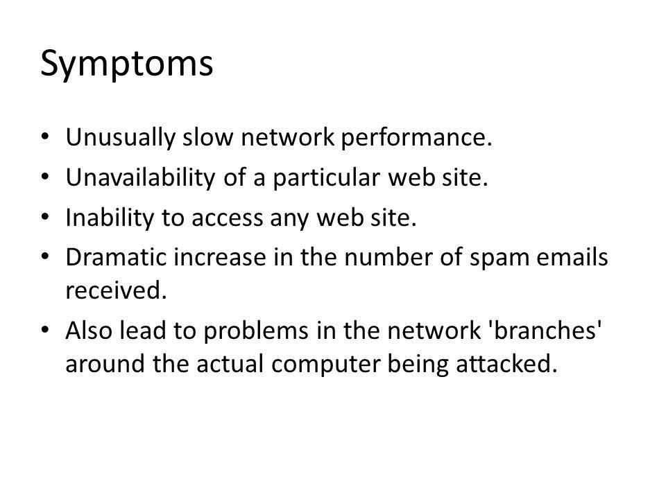 Symptoms Unusually slow network performance. Unavailability of a particular web site.