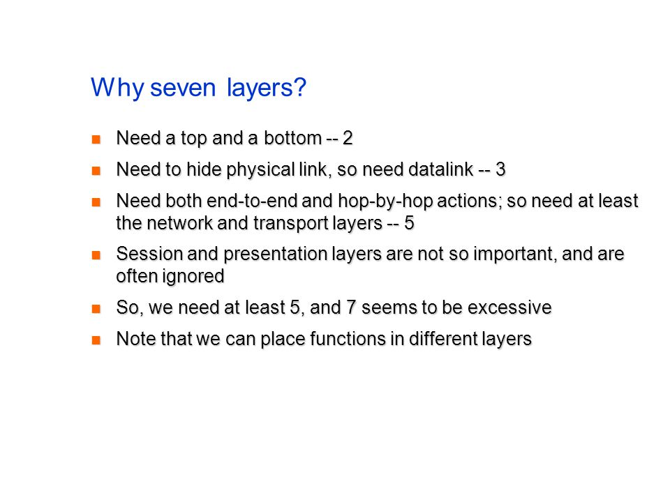 Why seven layers.