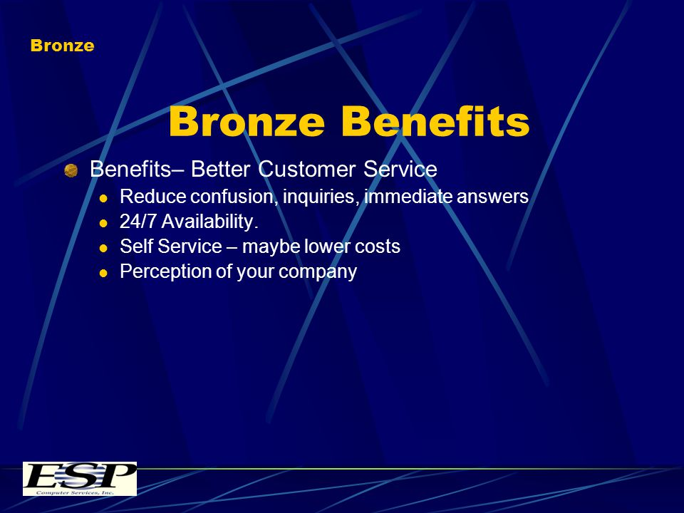 Bronze Benefits Benefits– Better Customer Service Reduce confusion, inquiries, immediate answers 24/7 Availability.