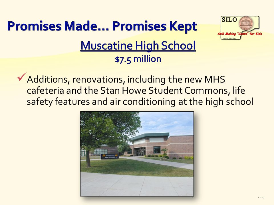 Additions, renovations, including the new MHS cafeteria and the Stan Howe Student Commons, life safety features and air conditioning at the high school v 1.4