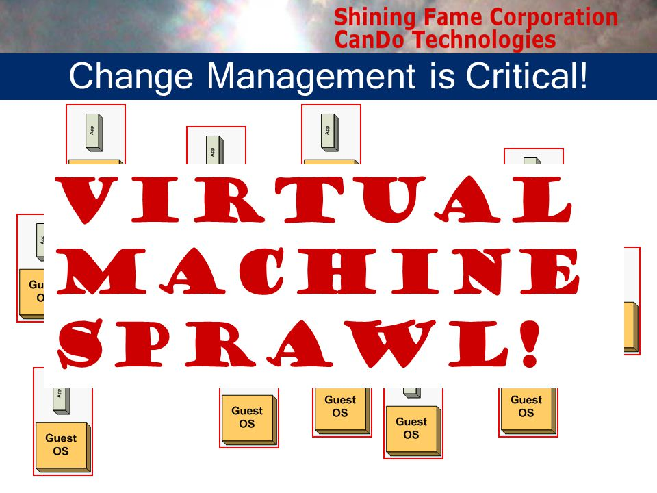 Virtual Machine Sprawl! Change Management is Critical!