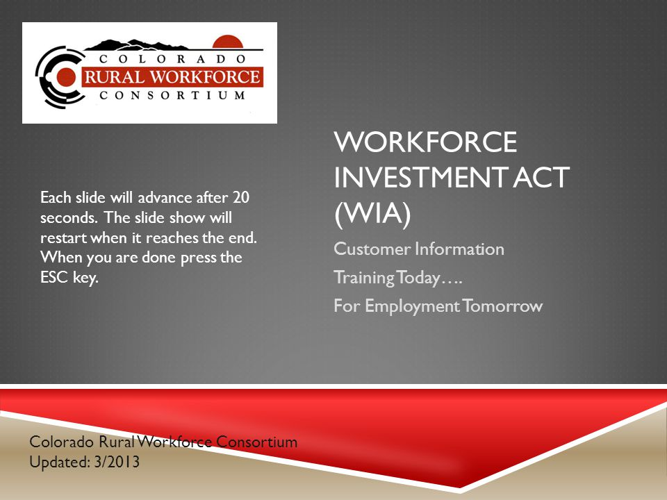 WORKFORCE INVESTMENT ACT (WIA) Customer Information Training Today….