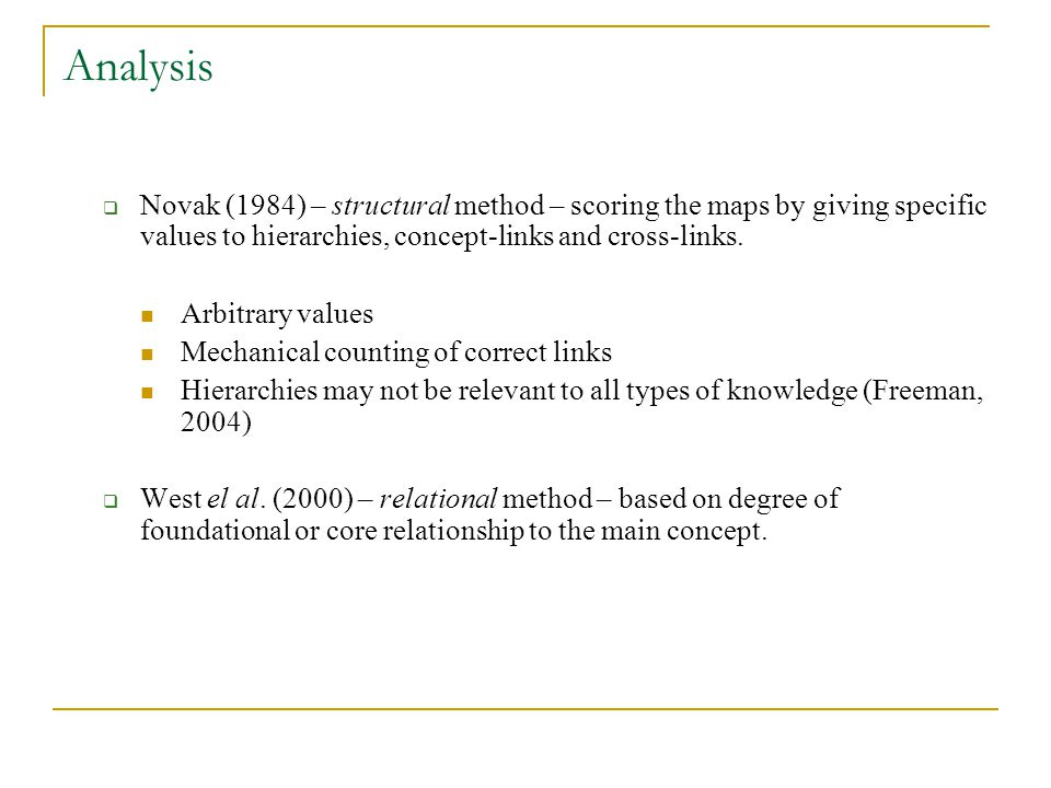 Analysis Novak (1984) – structural method – scoring the maps by giving specific values to hierarchies, concept-links and cross-links.
