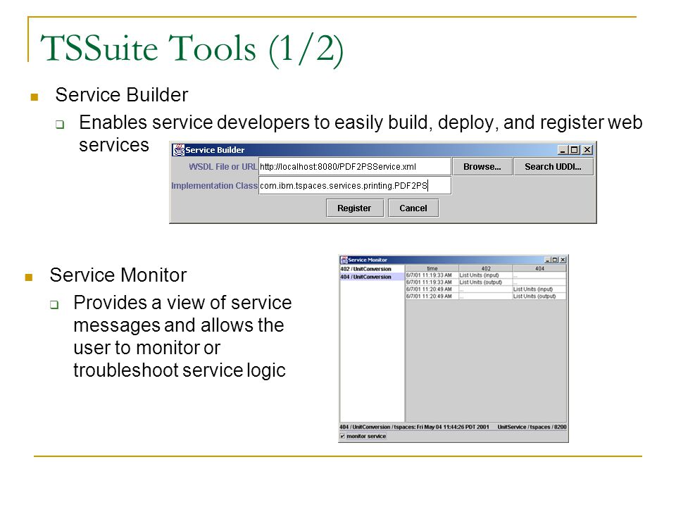 TSSuite Tools (1/2) Service Builder Enables service developers to easily build, deploy, and register web services Service Monitor Provides a view of service messages and allows the user to monitor or troubleshoot service logic