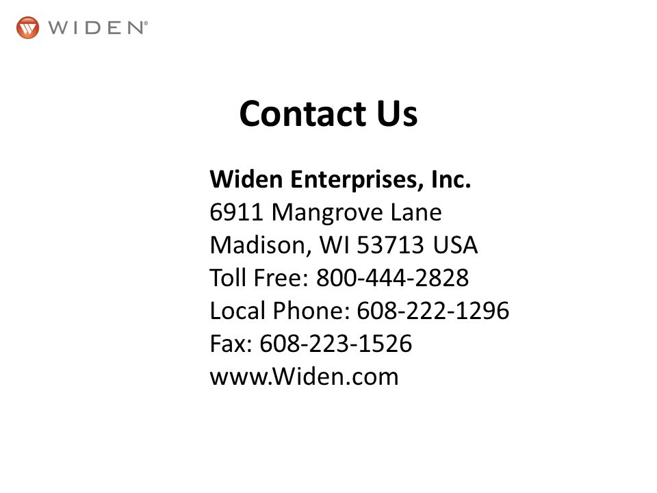 Contact Us Widen Enterprises, Inc.