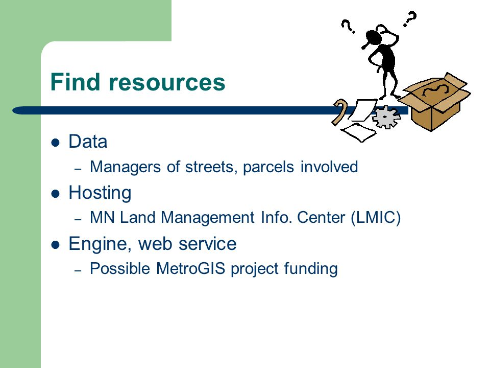 Find resources Data – Managers of streets, parcels involved Hosting – MN Land Management Info.