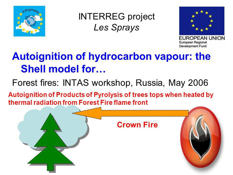 INTERREG project Les Sprays Autoignition of hydrocarbon vapour: the Shell model for… Forest fires: INTAS workshop, Russia, May 2006 Autoignition of Products of Pyrolysis of trees tops when heated by thermal radiation from Forest Fire flame front Crown Fire