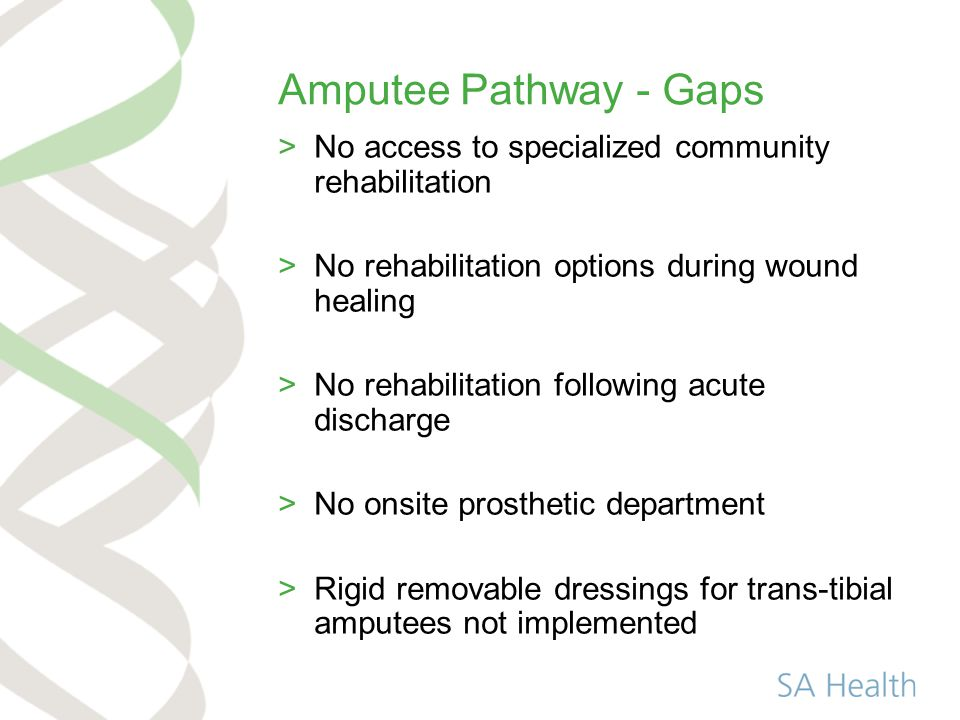 Amputee Pathway - Gaps >No access to specialized community rehabilitation >No rehabilitation options during wound healing >No rehabilitation following acute discharge >No onsite prosthetic department >Rigid removable dressings for trans-tibial amputees not implemented