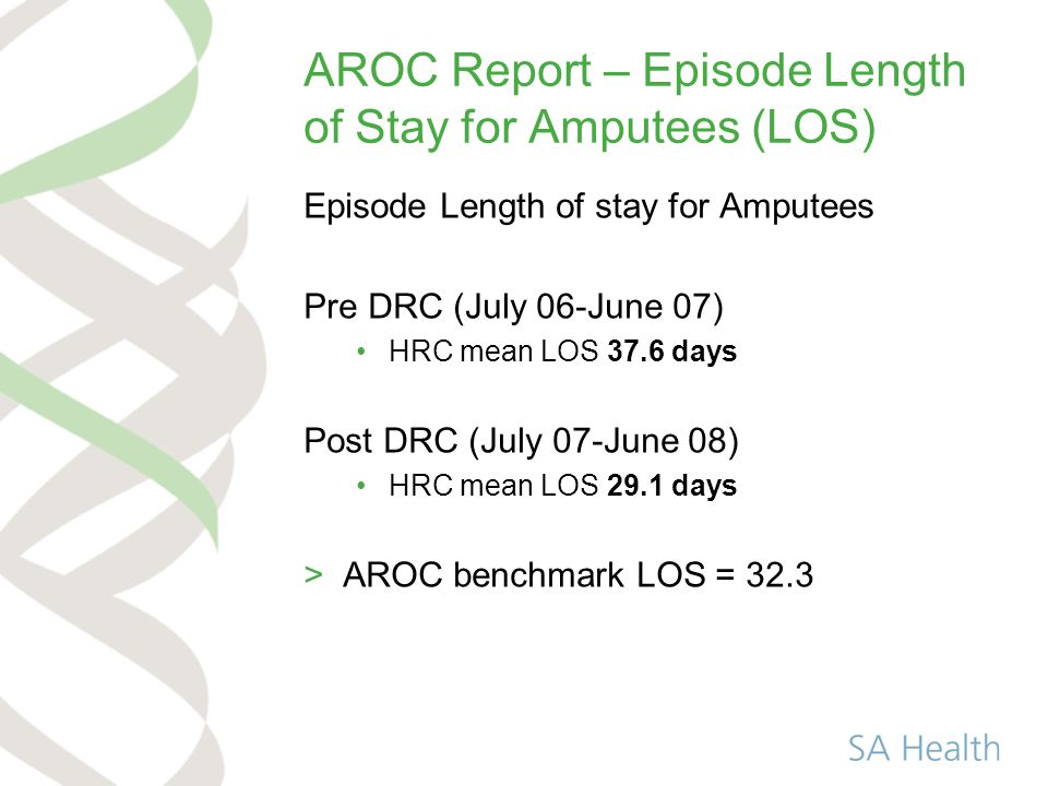 AROC Report – Episode Length of Stay for Amputees (LOS) Episode Length of stay for Amputees Pre DRC (July 06-June 07) HRC mean LOS 37.6 days Post DRC (July 07-June 08) HRC mean LOS 29.1 days >AROC benchmark LOS = 32.3
