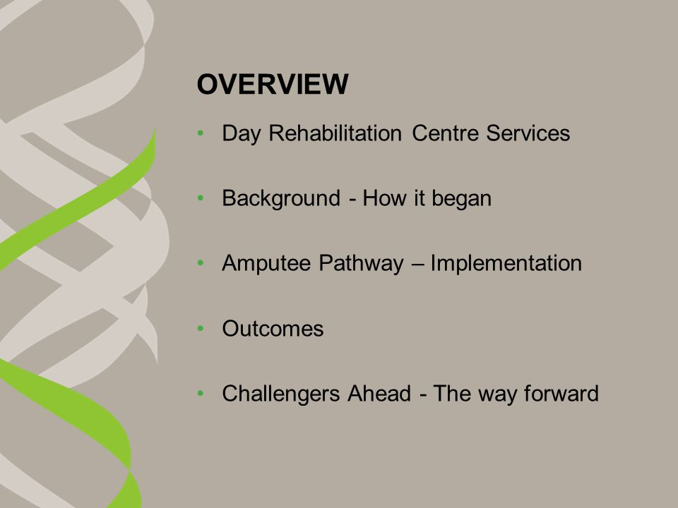 OVERVIEW Day Rehabilitation Centre Services Background - How it began Amputee Pathway – Implementation Outcomes Challengers Ahead - The way forward