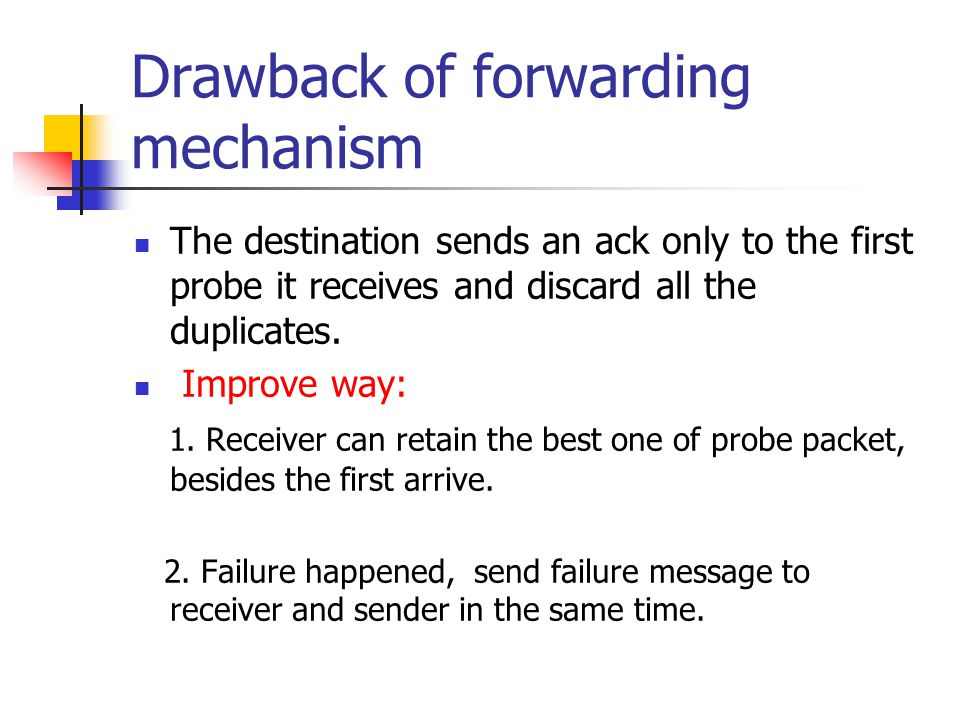 Drawback of forwarding mechanism The destination sends an ack only to the first probe it receives and discard all the duplicates.