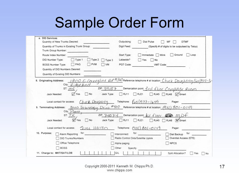 Sample Order Form Copyright 2000-2011 Kenneth M. Chipps Ph.D. www.chipps.com 17
