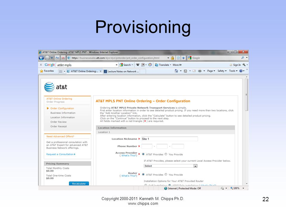 Provisioning Copyright 2000-2011 Kenneth M. Chipps Ph.D. www.chipps.com 22