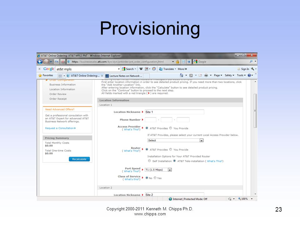 Provisioning Copyright 2000-2011 Kenneth M. Chipps Ph.D. www.chipps.com 23