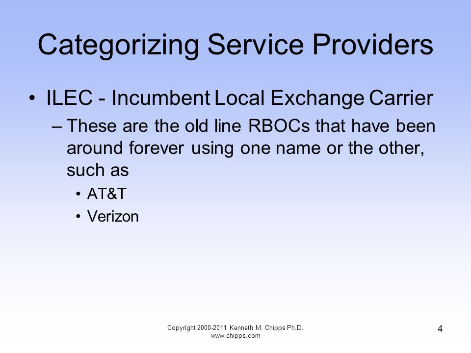 Categorizing Service Providers ILEC - Incumbent Local Exchange Carrier –These are the old line RBOCs that have been around forever using one name or the other, such as AT&T Verizon Copyright 2000-2011 Kenneth M.