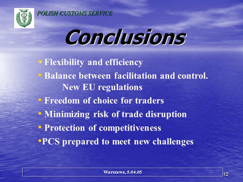 12 Conclusions Flexibility and efficiency Balance between facilitation and control.