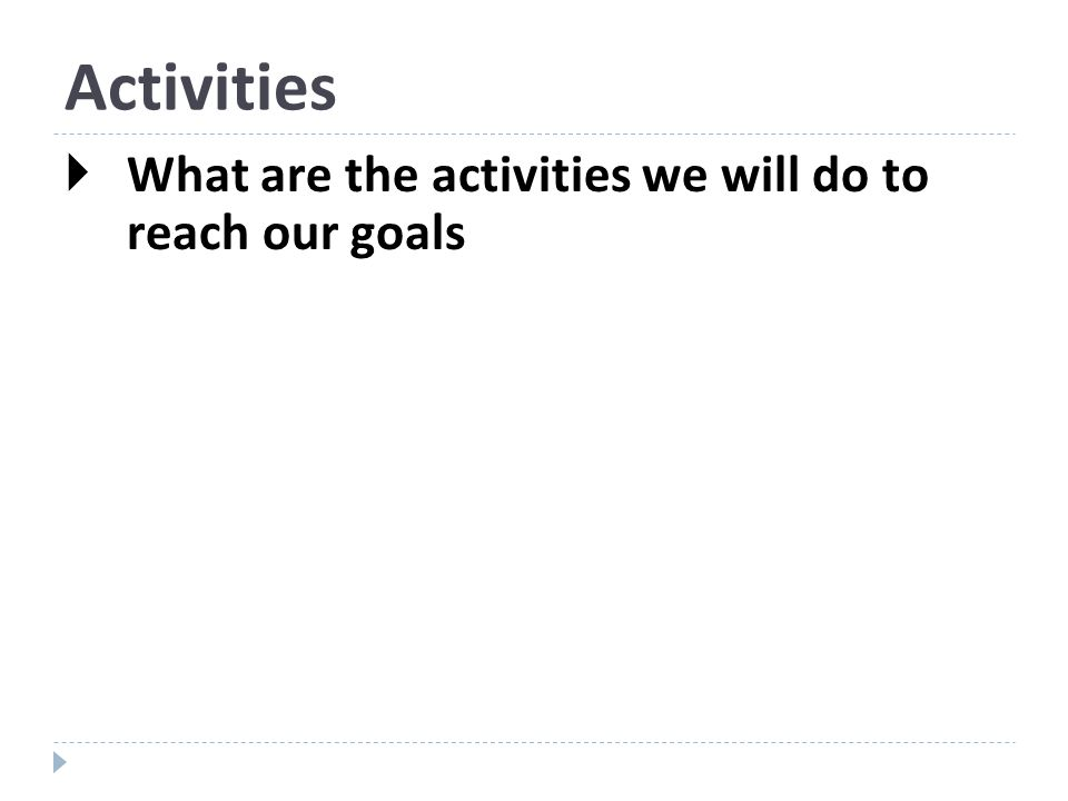 Activities What are the activities we will do to reach our goals