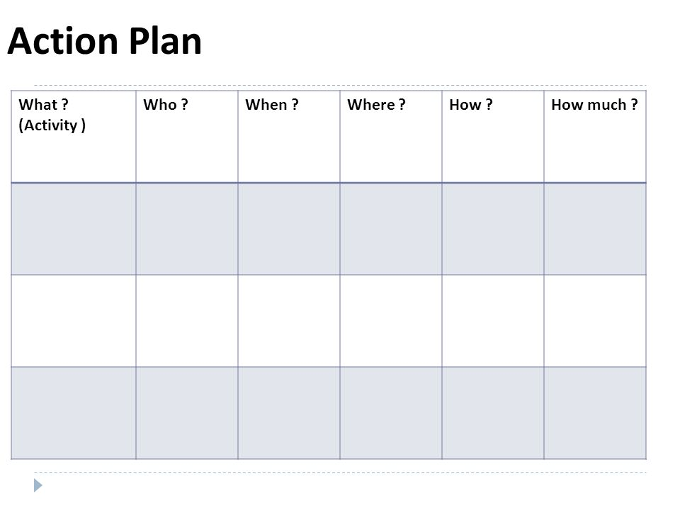 Action Plan What (Activity ) Who When Where How How much