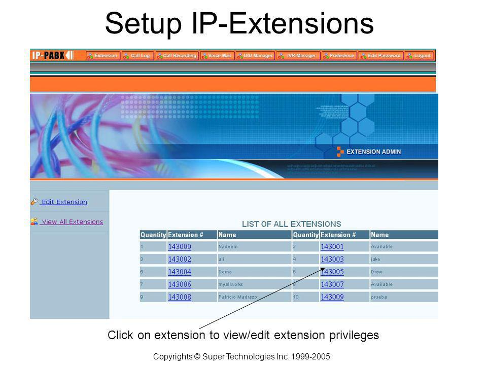 Setup IP-Extensions Copyrights © Super Technologies Inc.