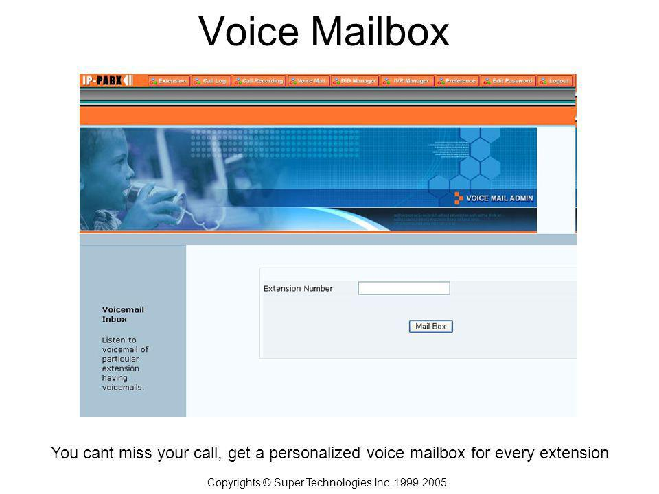 Voice Mailbox Copyrights © Super Technologies Inc.