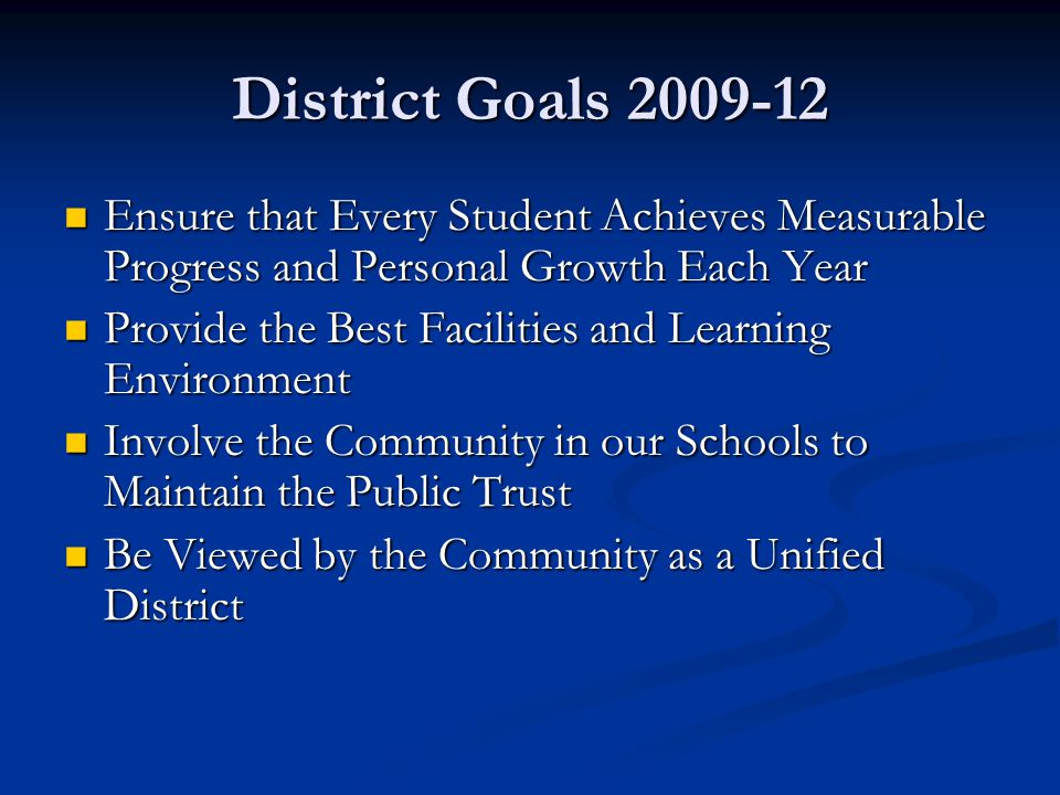 District Goals 2009-12 Ensure that Every Student Achieves Measurable Progress and Personal Growth Each Year Ensure that Every Student Achieves Measurable Progress and Personal Growth Each Year Provide the Best Facilities and Learning Environment Provide the Best Facilities and Learning Environment Involve the Community in our Schools to Maintain the Public Trust Involve the Community in our Schools to Maintain the Public Trust Be Viewed by the Community as a Unified District Be Viewed by the Community as a Unified District