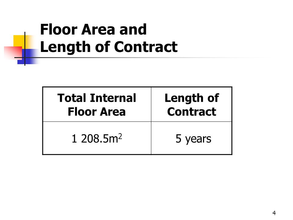 4 Floor Area and Length of Contract Total Internal Floor Area Length of Contract 1 208.5m 2 5 years